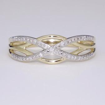 9ct gold diamond Celtic weave ring