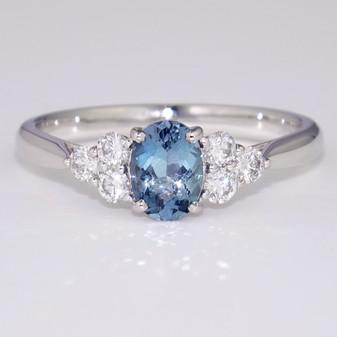 Platinum aquamarine and diamond ring GR5858