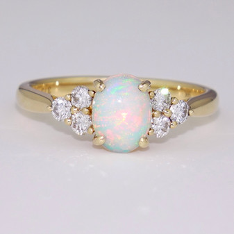9ct yellow gold opal and diamond ring GR5921