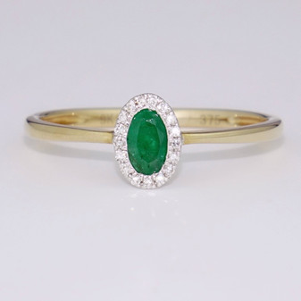 9ct yellow gold emerald and diamond cluster ring GR5662