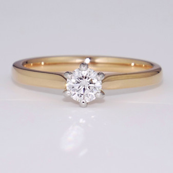 18ct rose gold and platinum D colour diamond solitaire ring GR5772