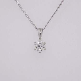18ct white gold diamond solitaire pendant PE4748