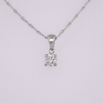 9ct white gold diamond solitaire pendant PE5026