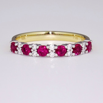 18ct yellow gold ruby and diamond ring ET1362