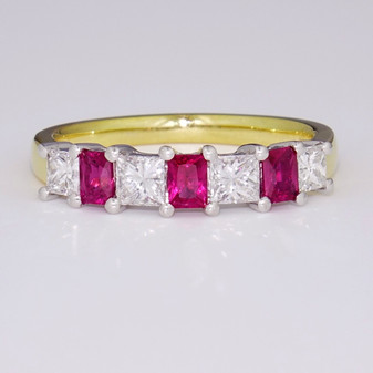 18ct yellow gold ruby and diamond ring ET1151