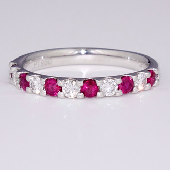 Platinum ruby and diamond ring ET1425