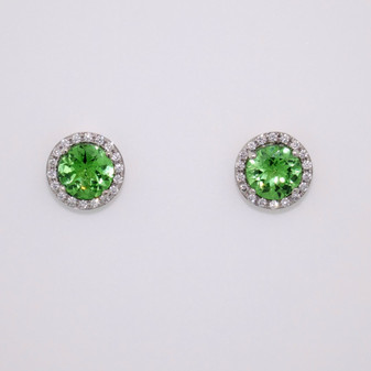 Tsavorite garnet and diamond halo stud earrings