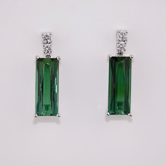 Green tourmaline and diamond drop earrings ER10936