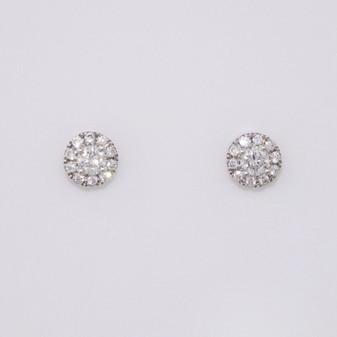 9ct white gold diamond halo stud earrings ER11700