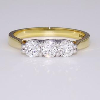 18ct gold diamond trilogy ring GR3352