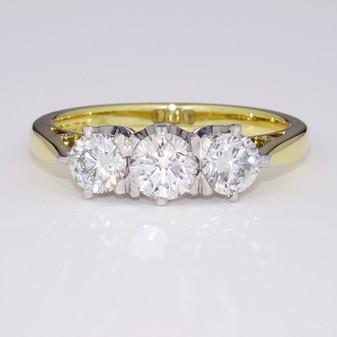 18ct gold diamond trilogy ring GR3315
