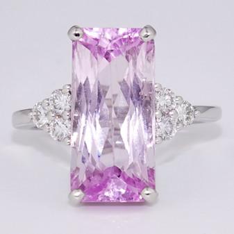18ct white gold kunzite and diamond ring GR5366