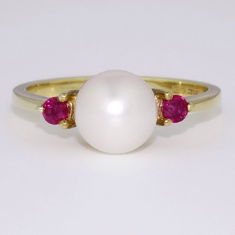 9ct yellow gold pearl and ruby ring DR2754