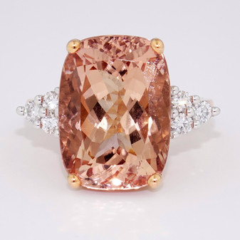 9ct rose gold morganite and diamond ring GR5348