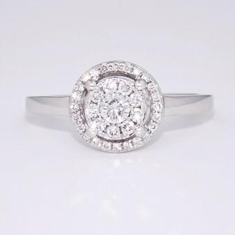 9ct white gold diamond cluster ring GR3958