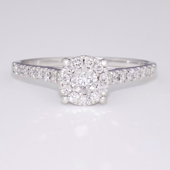 9ct white gold diamond cluster ring with diamond-set shoulders GR3960