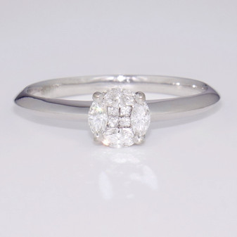18ct white gold diamond cluster ring GR3602