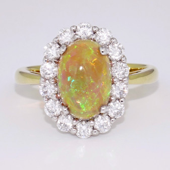 18ct gold opal and diamond cluster ring GR3854