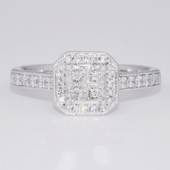 Platinum princess cut diamond cluster ring with diamond-set shoulders GR5988