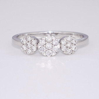 9ct white gold triple diamond cluster ring GR3938