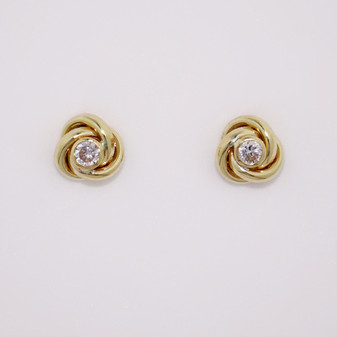 9ct yellow gold knot stud earring with cubic zirconia ER11714