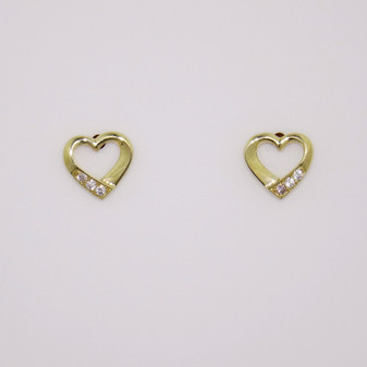 9ct yellow gold open heart shaped earrings set with three cubic zirconia ER11716