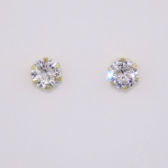 9ct gold CZ solitaire stud earrings ER11717