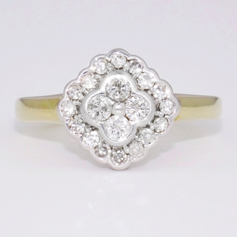 9ct gold diamond cluster ring GR1040