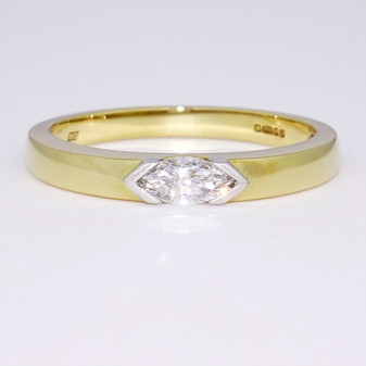18ct gold marquise cut diamond solitaire ring GR2971