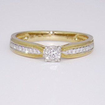 9ct gold diamond solitaire ring with diamond-set shoulders GR5637