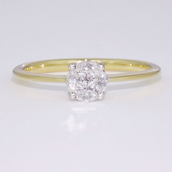 9ct gold diamond cluster ring GR3804