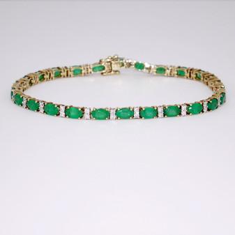 9ct gold emerald and diamond bracelet BRA5592