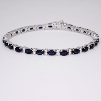 9ct white gold sapphire and diamond bracelet BRA5632