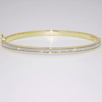 9ct yellow gold diamond-cut bangle BA1030