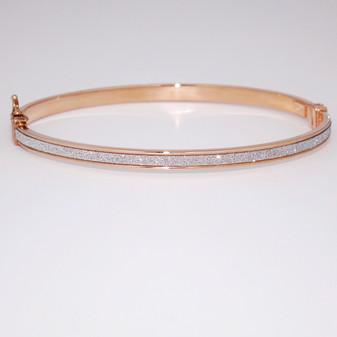 9ct rose gold diamond-cut bangle BA997