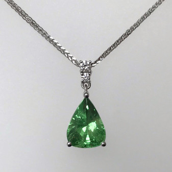 9ct white gold tsavorite garnet and diamond pendant