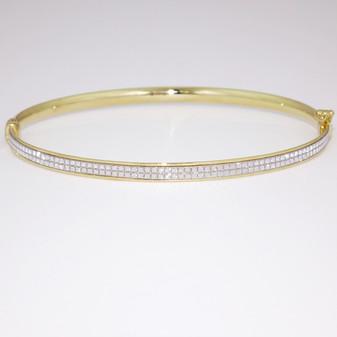 9ct yellow gold diamond-cut bangle BA1025