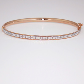 9ct rose gold diamond-cut bangle BA1023