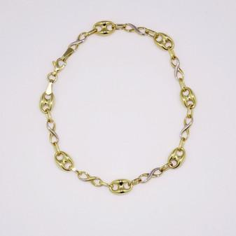 9ct yellow and white gold infinity bracelet BRA5638