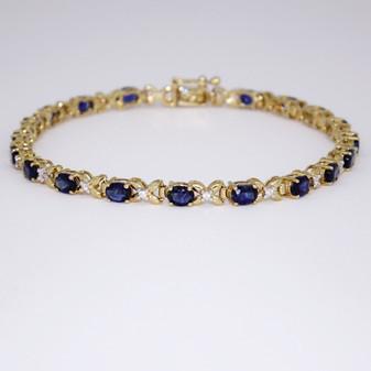 9ct yellow gold sapphire and diamond bracelet BRA5599