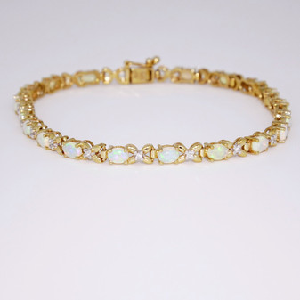 9ct yellow gold opal and diamond bracelet BRA5645