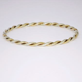 9ct yellow and white gold twisted bangle BA887