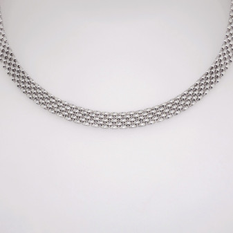 Silver five row panther link necklace SNEC58