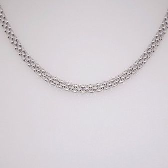 Silver three row panther link necklace SBRA47NE