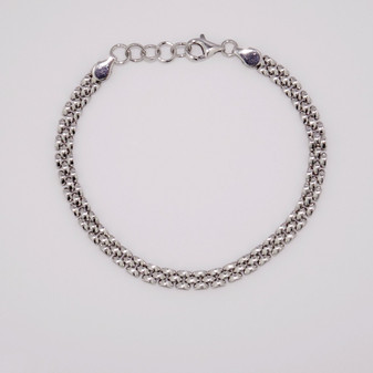 Silver three row panther link bracelet with adjuster chain SBRA47