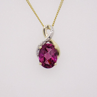 9ct yellow gold raspberry garnet and diamond pendant PE5297