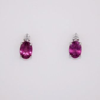 9ct white gold raspberry garnet and diamond earrings ER11728