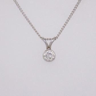 18ct white gold diamond solitaire pendant PE3146