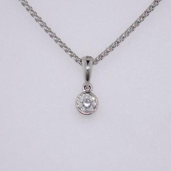 9ct white gold diamond solitaire pendant PE4987