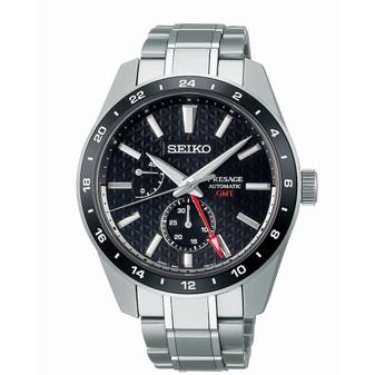 Seiko SPB221J1 gents GMT sharp edged watch black dial